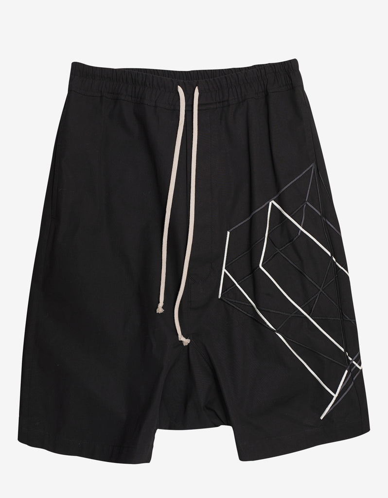 Black Rick's Pods Shorts with Embroidery