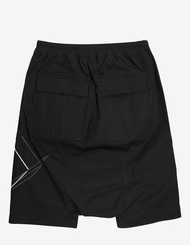 Rick Owens Black Rick's Pods Shorts with Embroidery