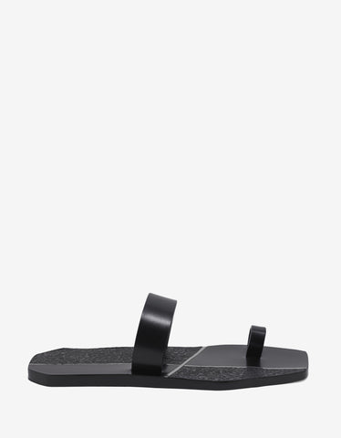 Rick Owens Black Leather Toe Strap Sandals