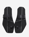 Black Leather Toe Strap Sandals