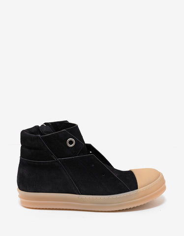 Rick Owens Black Suede Leather Island Trainers