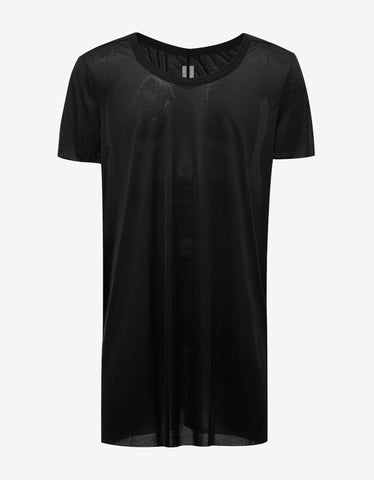 Rick Owens Black Raw Edge Silk T-Shirt