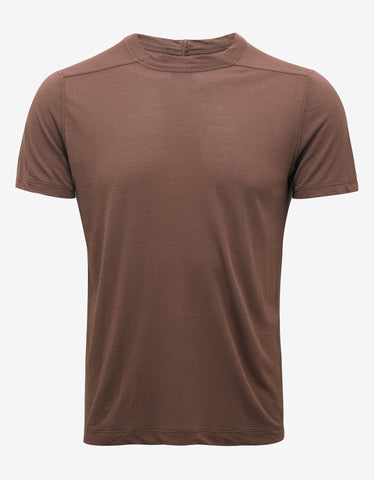 Rick Owens Throat Burgundy Silk Blend T-Shirt