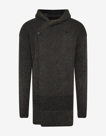 Rick Owens Brown Fisherman Hooded Cardigan