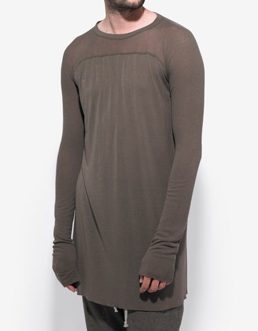 Rick Owens DNA Dust Grey Ribbed Yoke T-Shirt