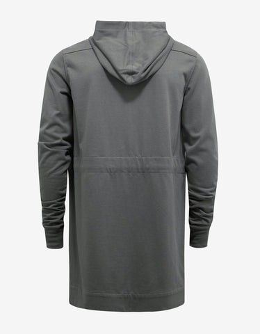Rick Owens Euca Grey Long Body Zip Hoodie