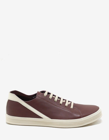 Rick Owens Geothrasher Throat Burgundy & Milk Trainers