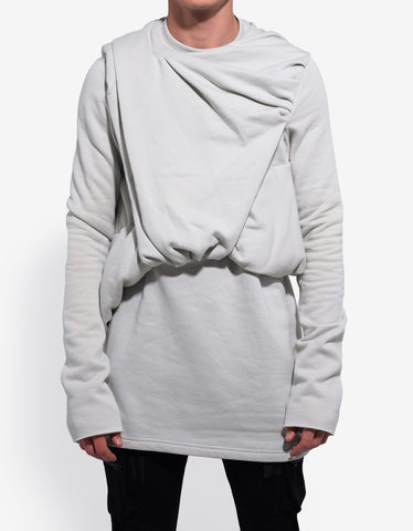 Rick Owens Dinge White Draped Emotion Sweatshirt