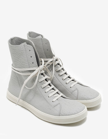 Rick Owens Mastosneaks Grey Grain Leather High Top Trainers