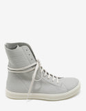 Mastosneaks Grey Grain Leather High Top Trainers