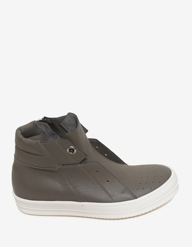 Rick Owens Island Dunk Darkdust Grey Mid High Trainers