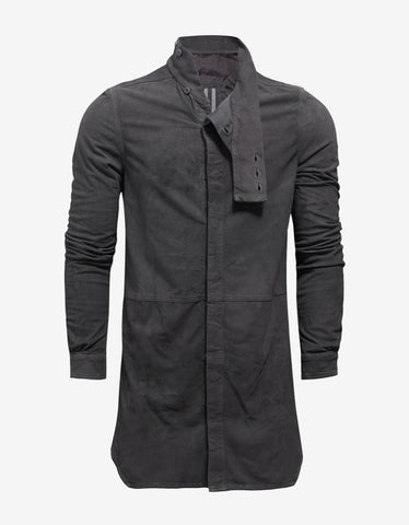 Rick Owens Dark Dust Grey Leather Island Shirt