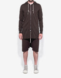 Macassar Brown Long Body Zip Hoodie