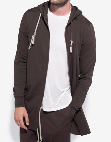 Rick Owens Macassar Brown Long Body Zip Hoodie