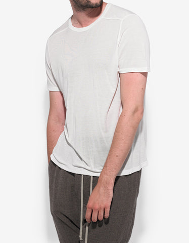 Rick Owens Milk White Cropped Hem T-Shirt