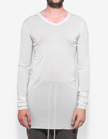 Rick Owens Milk White V-Neck T-Shirt