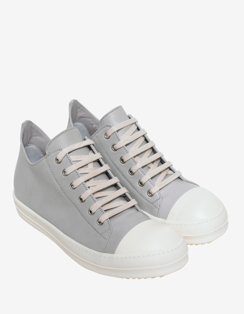 Pearl Grey Leather Low Trainers