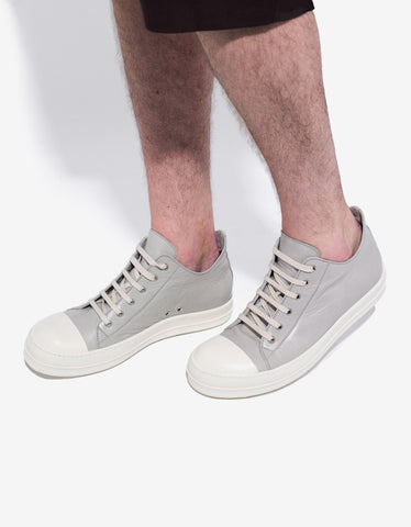 Rick Owens Pearl Grey Leather Low Trainers