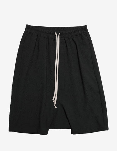 Rick Owens Rick's Pods Drop Crotch Seersucker Shorts