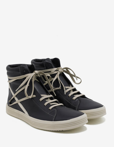 Rick Owens Thrashersneaks Black & Milk High Top Trainers