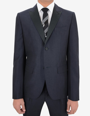 Valentino Blue Two-Button Fitted Dinner Suit
