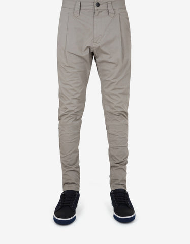 Stone Island Shadow Project Beige Pleated Casual Trousers