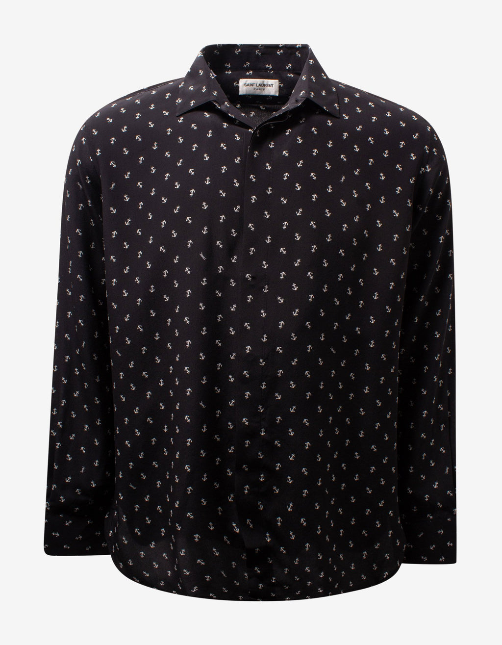 Black Anchor Print Silk Shirt -