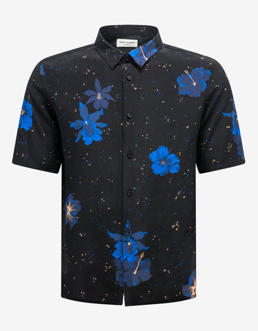 Nautical Print Silk-Blend Shirt