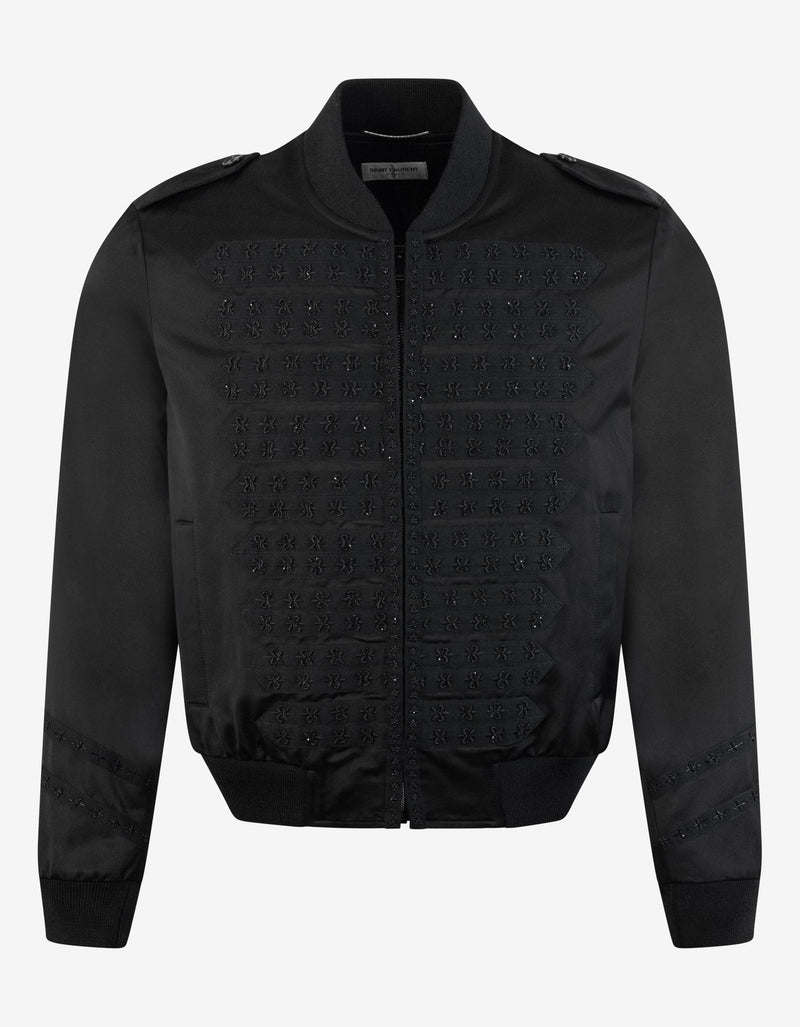 Black Officer Satin Bomber Jacket -