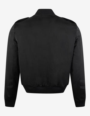 Black Officer Satin Bomber Jacket