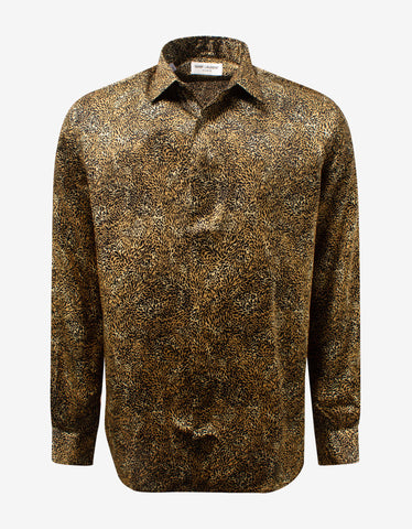 Black Camo Jacquard Silk Shirt
