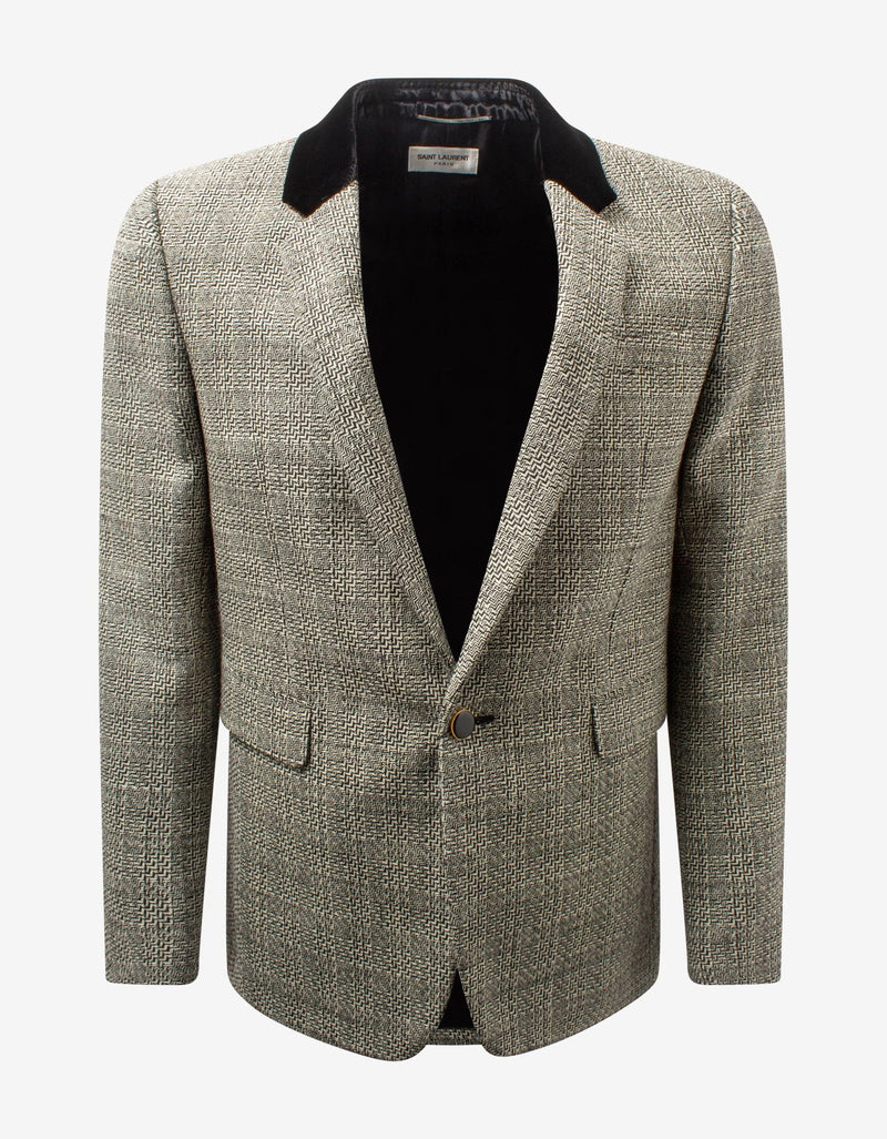 Prince Of Wales Check Wool Blazer -