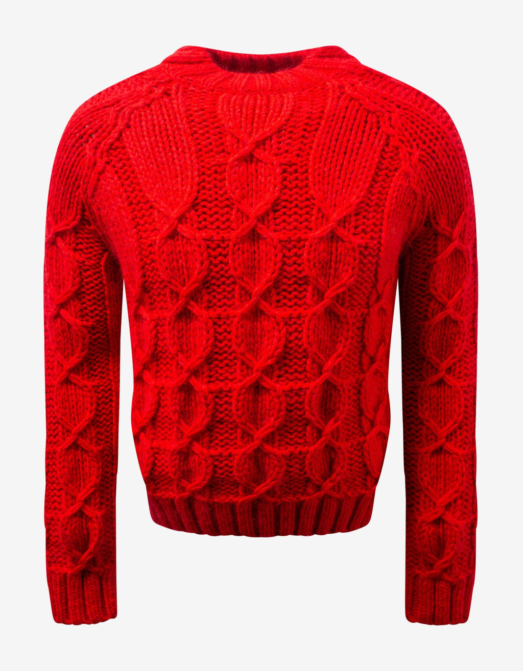 Red Cable Knit Wool & Mohair Sweater -