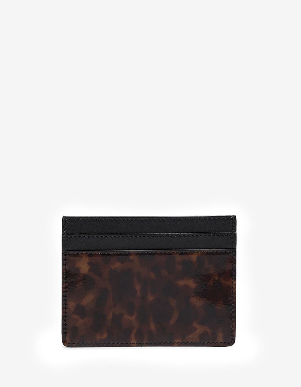 Tortoiseshell Print Patent Leather Card Holder