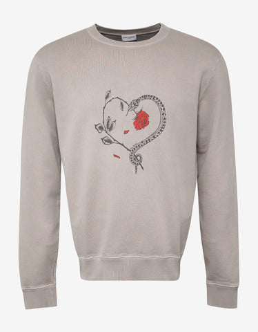 Saint Laurent Beige Rose & Snake Print Sweatshirt