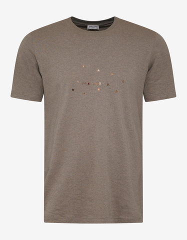 Saint Laurent Beige Square Logo & Stars Print T-Shirt