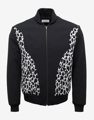 Saint Laurent Black Babycat Panel Teddy Jacket