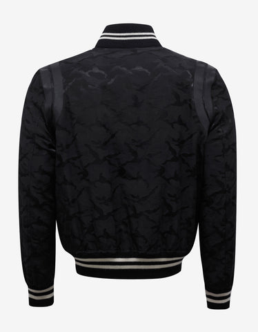 Saint Laurent Black Camouflage Graphic Teddy Jacket