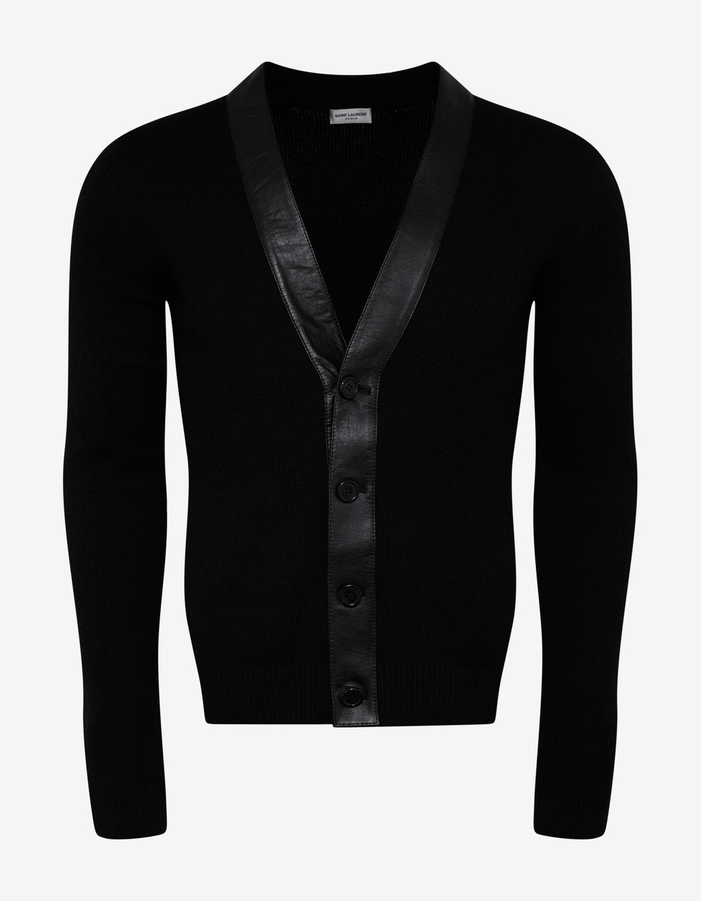 Black Cashmere Cardigan with Leather Trim