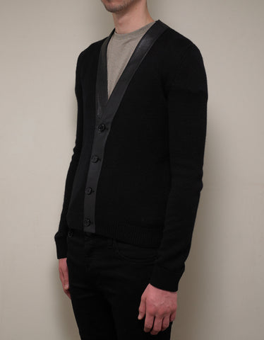 Saint Laurent Black Cashmere Cardigan with Leather Trim