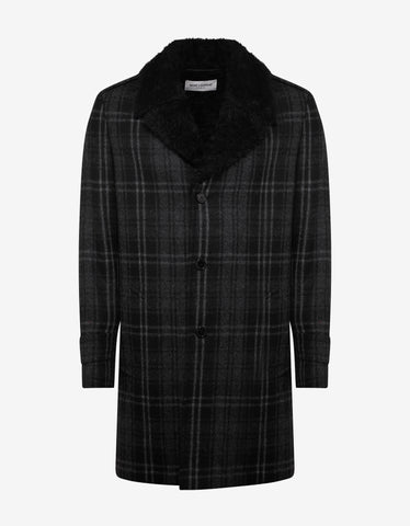 Saint Laurent Black Check Wool Overcoat