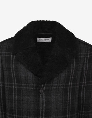 Black Check Wool Overcoat