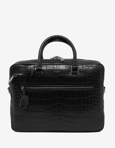 Saint Laurent Black Croc Embossed Leather Briefcase