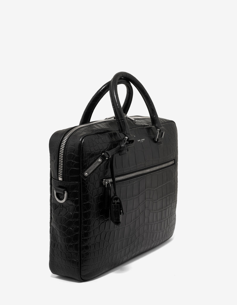 Black Croc Embossed Leather Briefcase