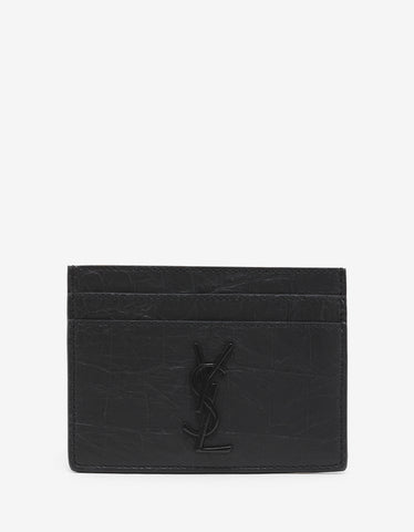 Saint Laurent Black Croc Embossed Leather Card Holder