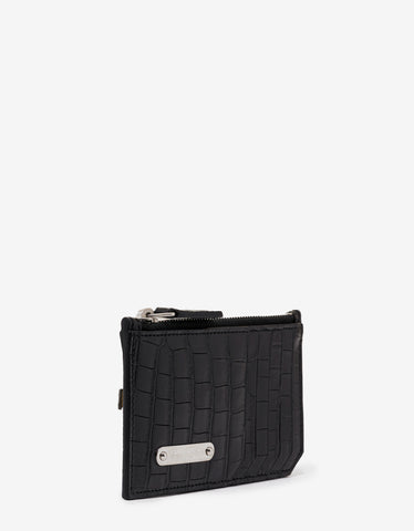 Saint Laurent Black Croc Embossed Leather Card Holder with Zip