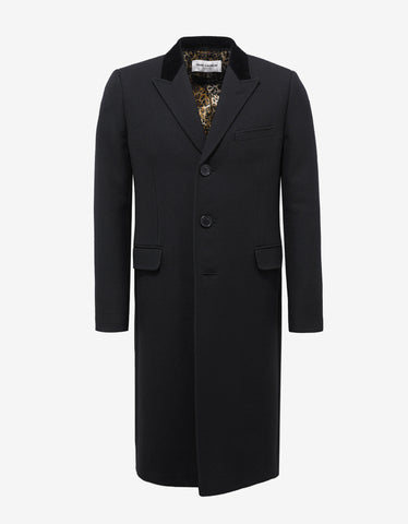 Saint Laurent Black Wool Tube Coat