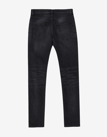 Saint Laurent Black D02 Stonewash Skinny Denim Jeans