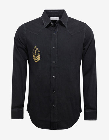 Saint Laurent Black Denim Western Shirt