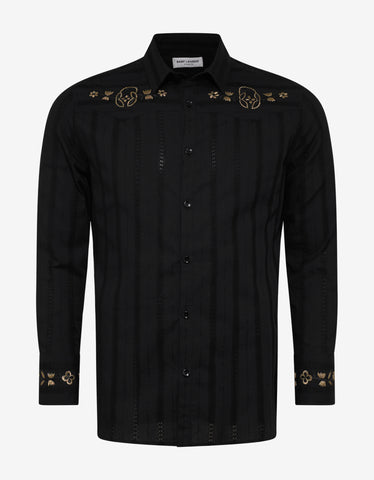 Saint Laurent Black Floral Embroidery Shirt